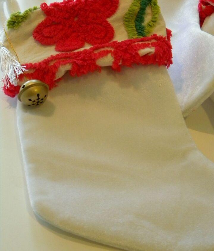 no sew vintage chenille stockings, crafts, seasonal holiday decor