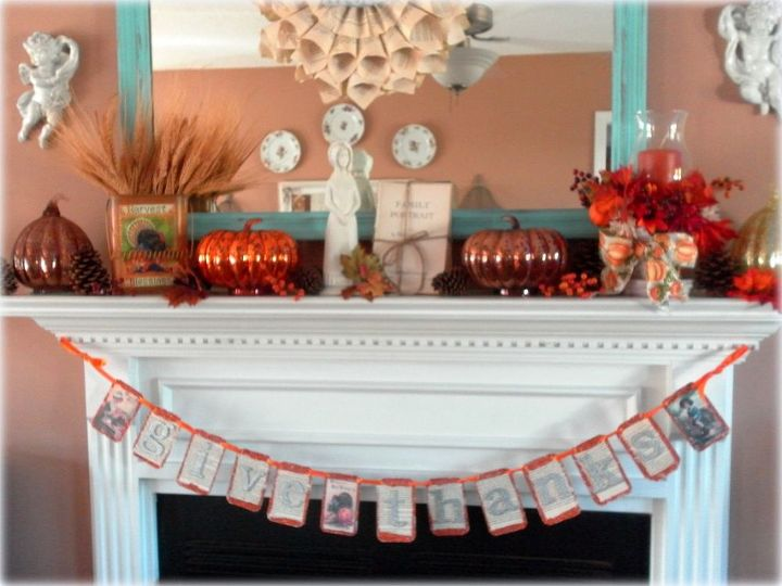 a thanksgiving mantel and last minute decorating tips thanksgiving, seasonal holiday d cor, thanksgiving decorations, A Thanksgiving Mantel