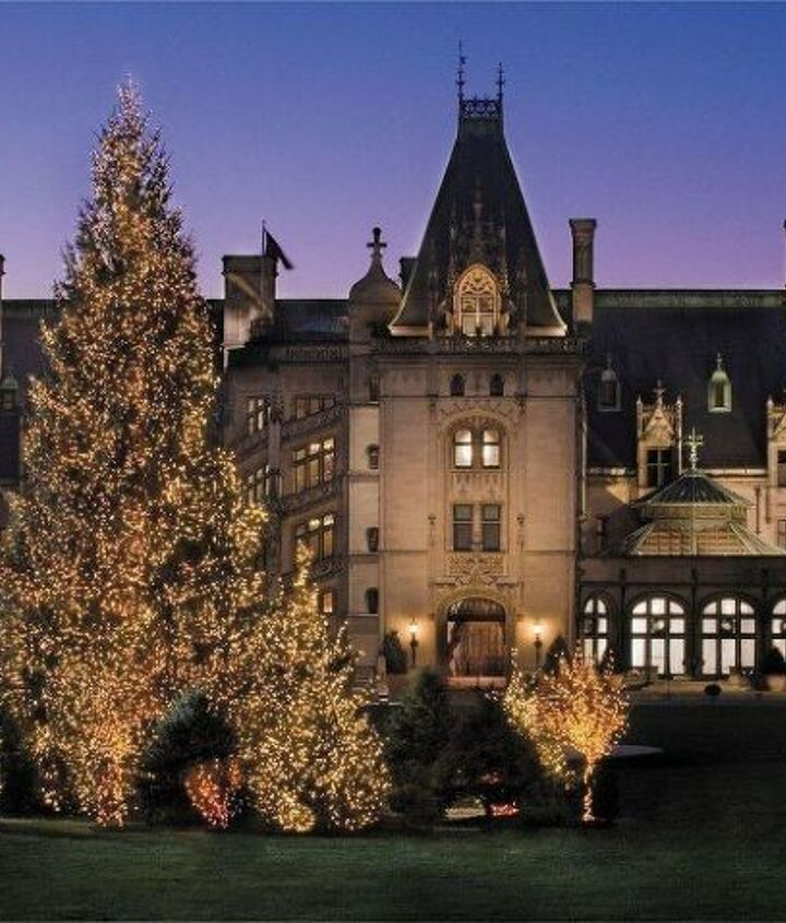 During the evening, guests are greeted with a forest of lit evergreens on the Front Lawn.