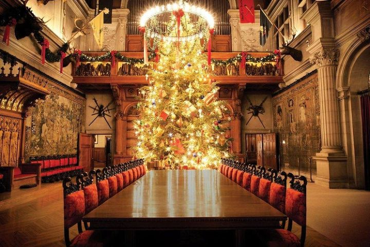 A 34-foot Fraser fir spends the holidays in the 72-foot high Banquet Hall, adorned with 500 lights.