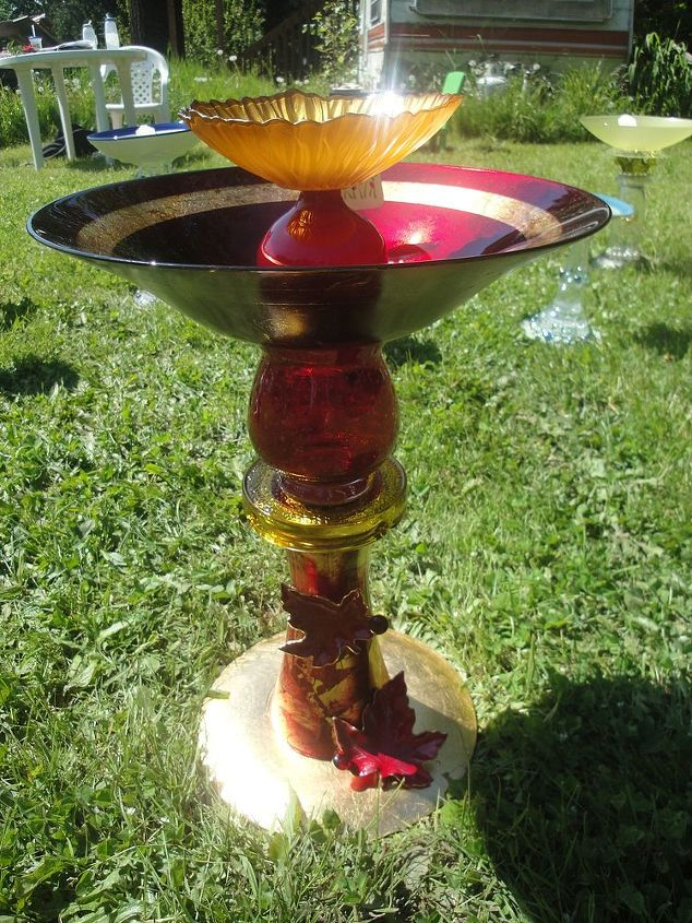 This Is A Birdbath I Made From Reclaimed Glass Vases Plates Bowls
