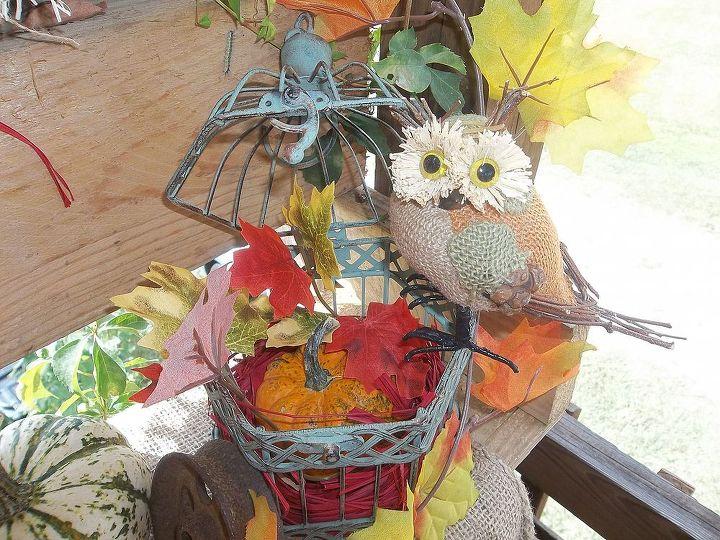 fall display on my tiny porch planting bench transformed, gardening, repurposing upcycling, seasonal holiday d cor, wreaths