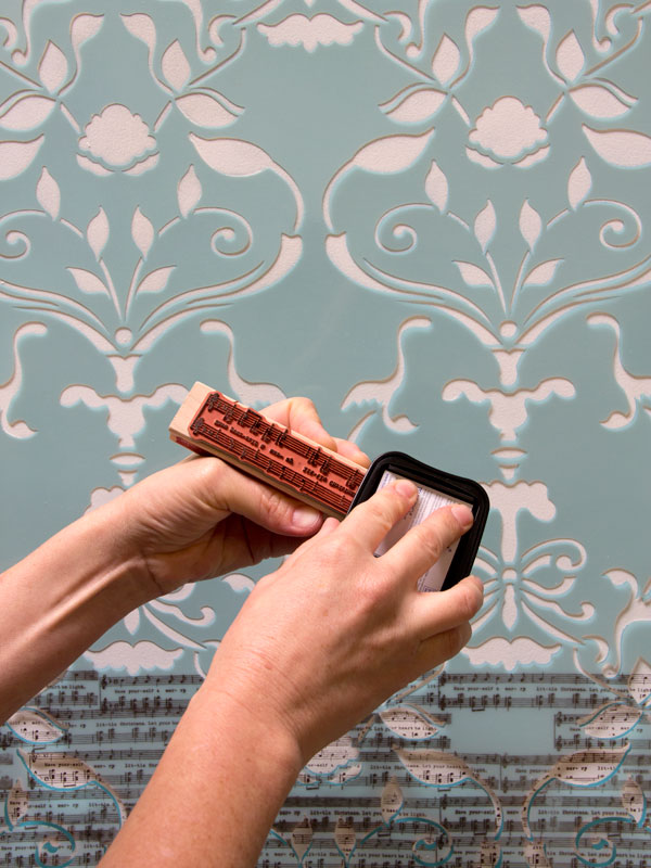 Following instructions from our post, prepare your stencil and stamp to add a unique touch to your wall pattern. http://www.royaldesignstudio.com/blogs/how-to-stencil/7908799-stencil-how-to-stamping-the-splendor-damask