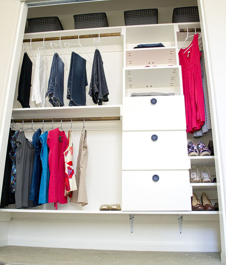 Full picture of DIY Closet- note extra storage on top shelf with bins