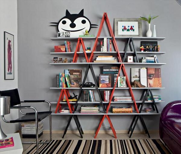 Well, this is not a real old ladder but a ladder-themed rack. Still, I adore the idea. In my view, it would fit nicely in a contemporary home.
