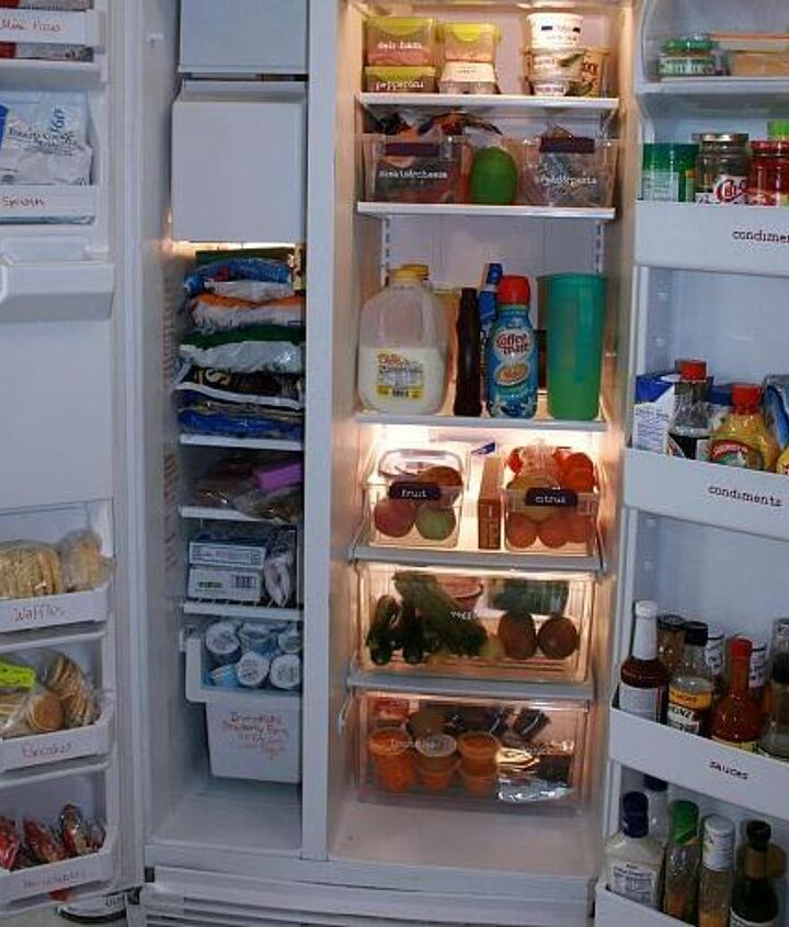organize your refrigerator, organizing, storage ideas, Use plastic bins to organize like items I use them to keep fruits and veggies separate