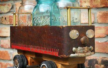 Repurposed Sewing Machine Drawer Wheel Car