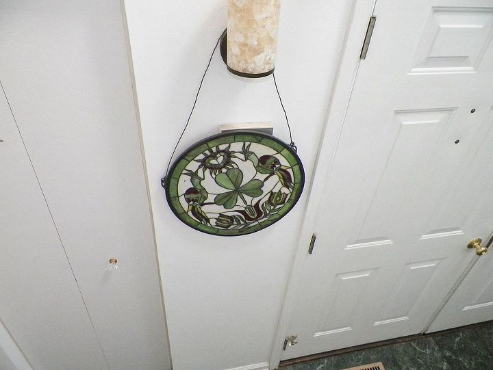 q foyer fixture i hate it but no money stained glass love it no place, crafts, painting, repurposing upcycling