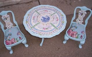 more of my mosaics, painted furniture, tiling, This is a doll table and chair I painted it mosaiced it and covered the chairs with matching fabric