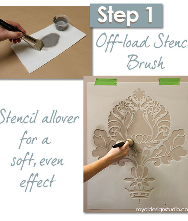 Stenciling an Allover Pattern with a translucent paint for a soft shadow effect. http://www.royaldesignstudio.com/blogs/how-to-stencil/7973661-stencil-how-to-easy-sponge-roller-texture-and-stencil-shadow-shift