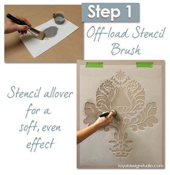 stencil how to easy sponge roller texture and stencil shadow shift, paint colors, painting, wall decor, Stenciling an Allover Pattern with a translucent paint for a soft shadow effect