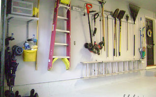 garage reveal, cleaning tips, garages, storage ideas, Organized wall Yard supplies