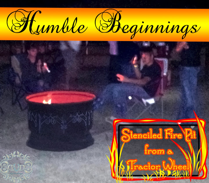 fire pit from humble beginnings, outdoor living, repurposing upcycling, Fire Pits are really fun but they can be quite expensive Not mine The cost of two cans of Paint and a humble tractor wheel