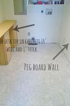 easy diy built in desk, craft rooms, diy, flooring, how to, kitchen cabinets, painted furniture, tile flooring, woodworking projects, We then added an MDF top after we leveled the cabinets and attached them to the wall Easy DIY built in desk