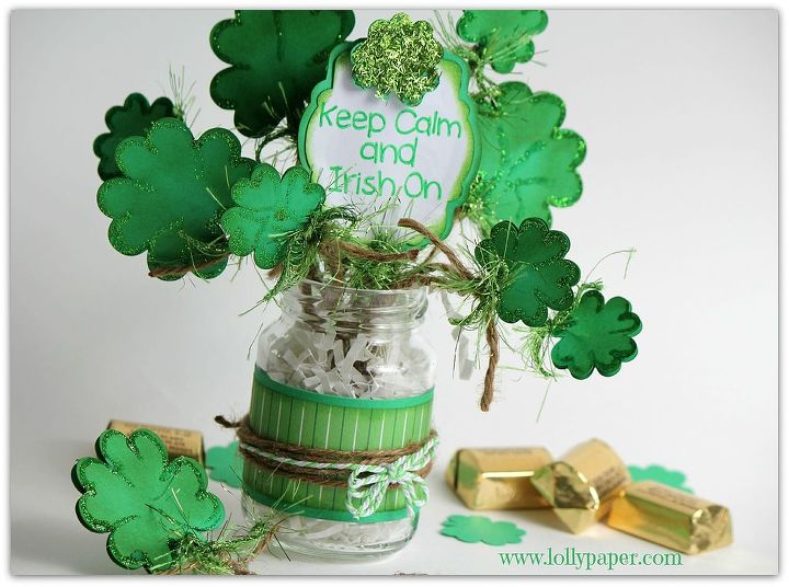 how to make a bouquet of luck, crafts, seasonal holiday decor, A jar of luck made with Silhouette Cameo and an empty jar