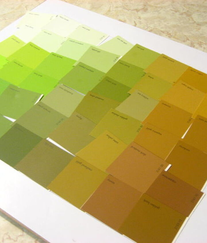 Loosely layout cut up paint chips in graduated colors