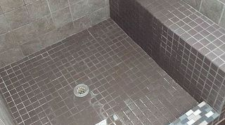 q disaster shower job, bathroom ideas, home improvement, home maintenance repairs, tiling, Testing the drain and cleaning grout residue I didn t seal and I regret it Seal that grout tight away