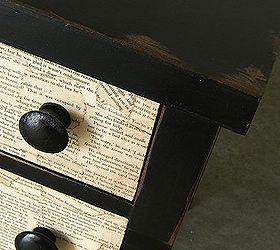 Bon Book Page Decoupaged Dresser, Home Decor, Painted Furniture