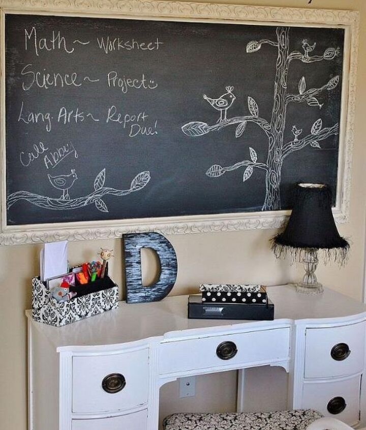 $15 DIY oversize chalkboard made with large picture frame purchased at an auction.