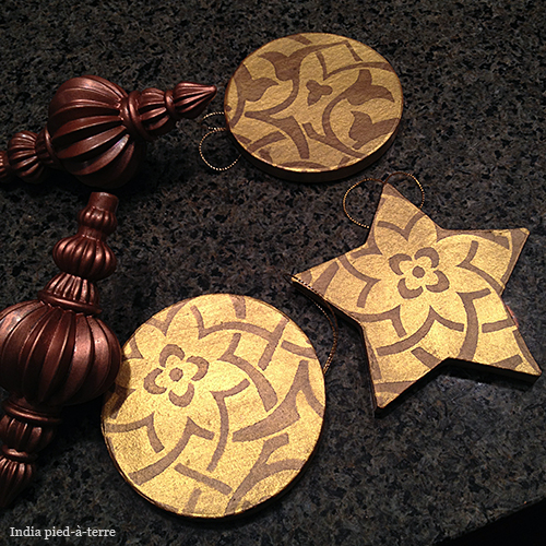 Stenciled Christmas Tree Ornaments