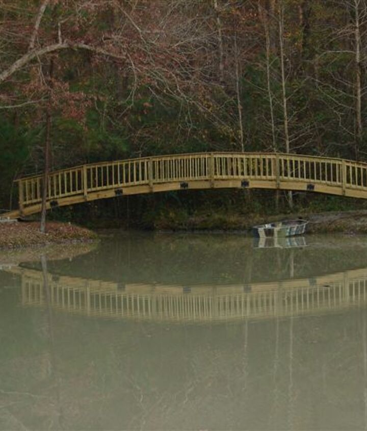 Finished bridge from the opposite end of the pond