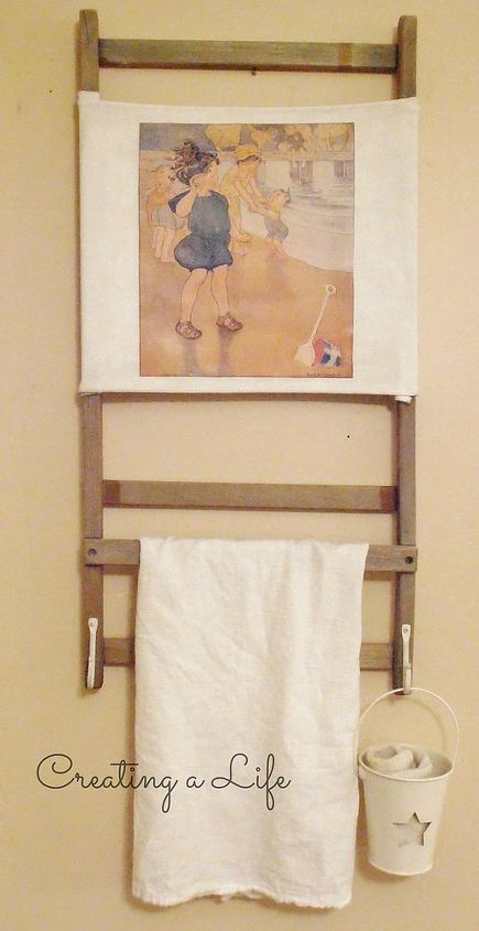 vintage beach chair to vintage beach inspired towel rack, diy, repurposing upcycling, woodworking projects, I added two distressed looking white hooks to the bottom already had those too