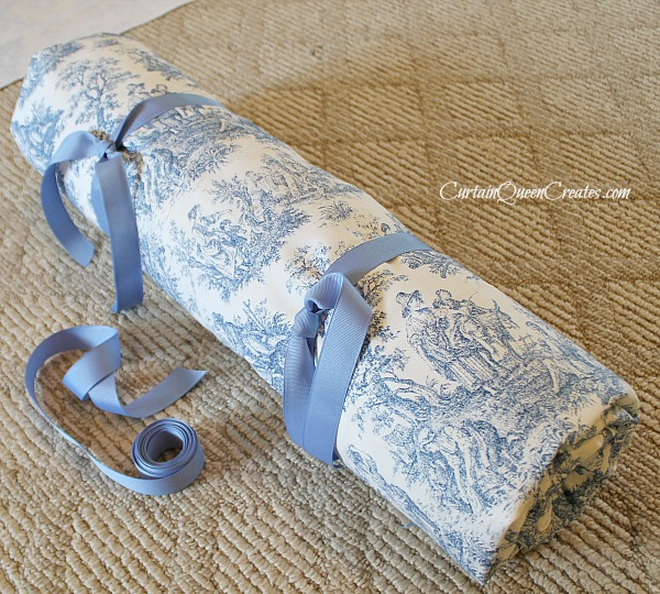 diy no sew roll pillow, crafts, home decor, The end result of DIY No Sew Roll Pillow