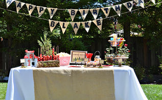 diy backyard campout birthday party, crafts, outdoor living, repurposing upcycling, woodworking projects, The dessert table with the banner that I made hanging above