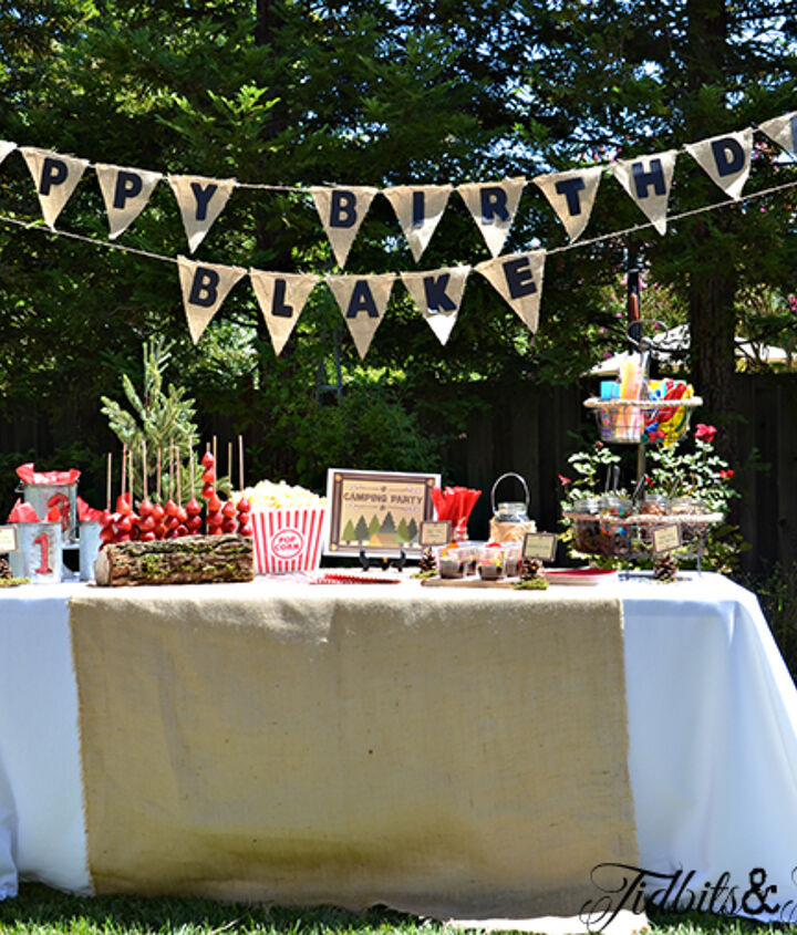 The dessert table with the banner that I made hanging above.