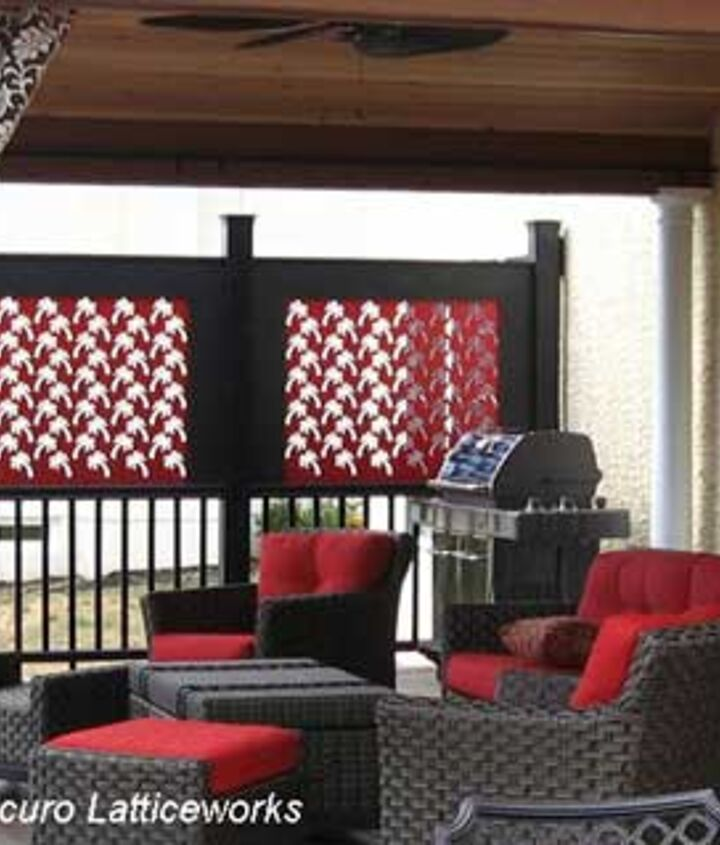 Lattice panels can be custom made in different shapes and colors to provide privacy on porches and decks. (Photo courtesy of Acurio Latticeworks)
