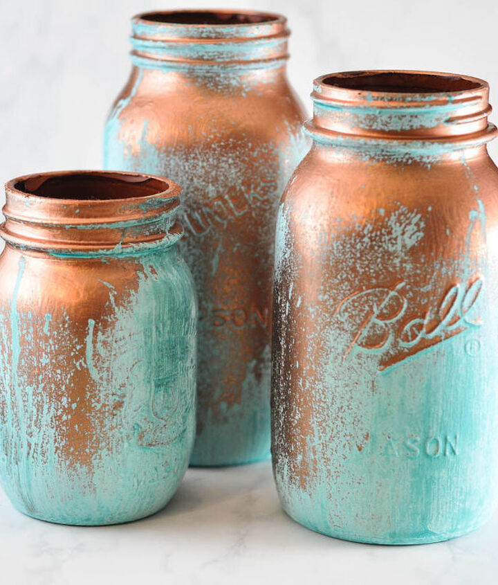 This copper and blue look will stand out in any decor.