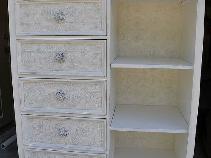 textured wallpaper on furniture, painted furniture, wall decor