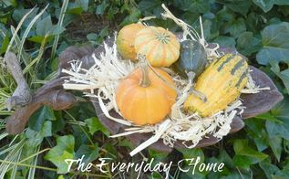 bird bath pulls double duty as a fall decor container in front yard, crafts, outdoor living