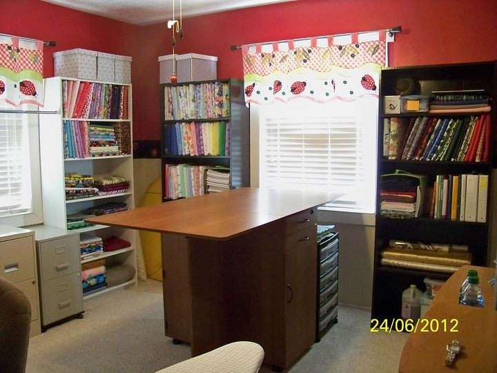 "Now, this is what a nice organized room looks like with these boards for sure......posted on my Quilting Board site, enjoy and ""get wrapping it up""!!!!  I will have a new Quilt room like this soon, keep watching!!!!!!"