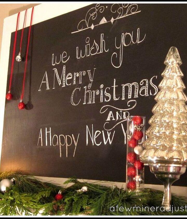 a hand chalked by me christmas mantel, christmas decorations, seasonal holiday decor