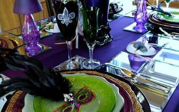 mardi gras tablescape, seasonal holiday decor, Mardi Gras table setting using masks cut out from paper plates and feather embellishments
