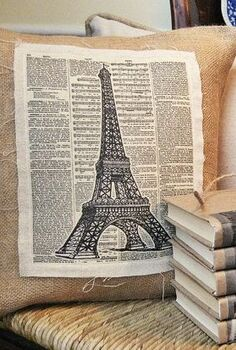 my linen and burlap eiffel tower pillow with free graphic, crafts, home decor, Love the vintage look