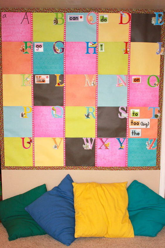 Word wall made from scrapbook paper and ribbon.