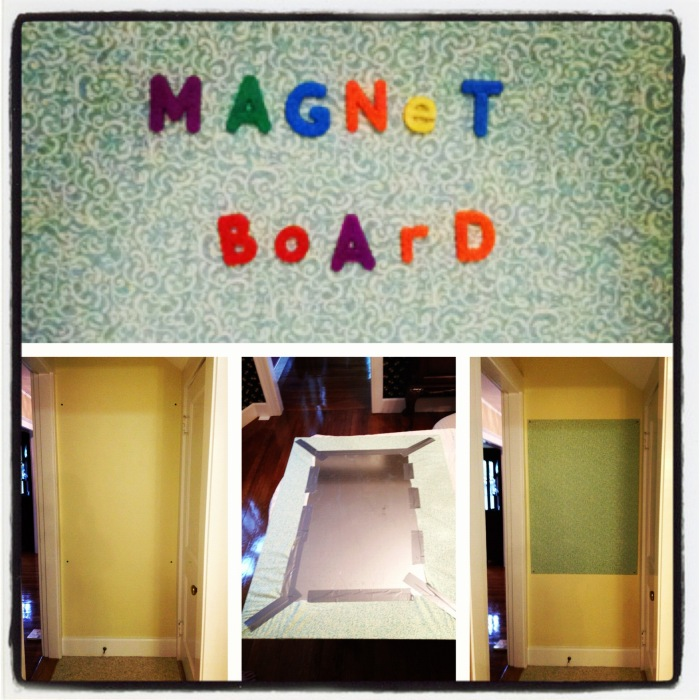 diy magnetic board a project completed, doors, wall decor, DIY home house magnetic board empty space yellow wall magnet door organization sheet metal fabrics fabric duct tape