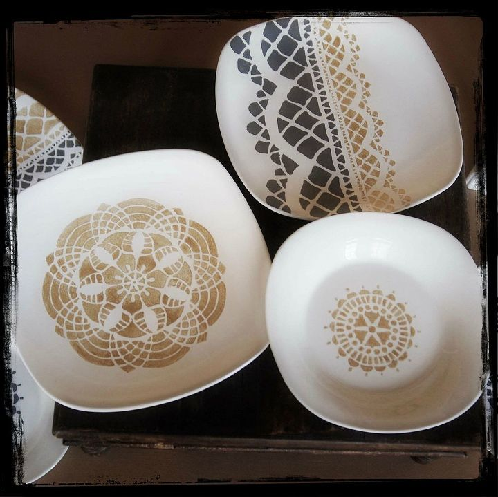 lace plate diy, crafts, painting