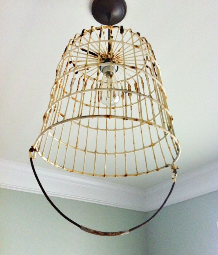 vintage egg basket turned into a light, electrical, lighting, repurposing upcycling
