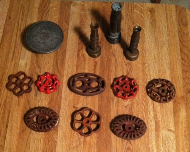 picked these up at an estate sale yesterday, repurposing upcycling, Watering can nozzle brass hose nozzles and an assortment of spigot handles