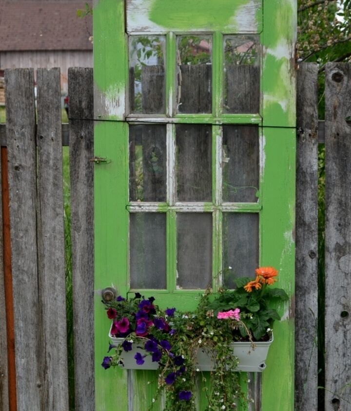 reusing old doors, flowers, gardening, repurposing upcycling