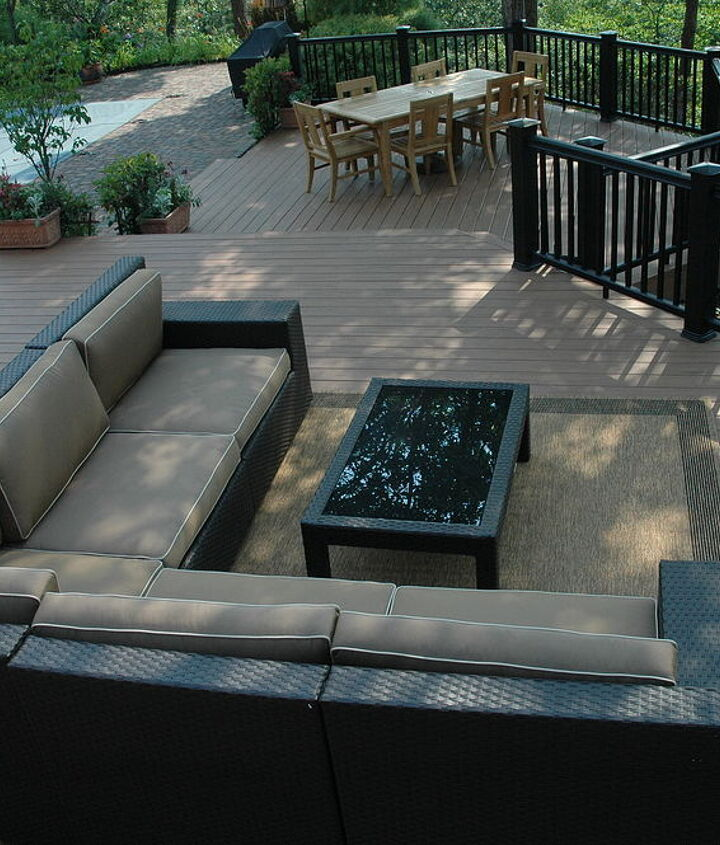 Tip: Try designing spaces that are not always rectangular. This deck has 45 degree angles to orient the outdoor furniture toward the views. http://www.deckandpatio.com/decks/portfolio.html