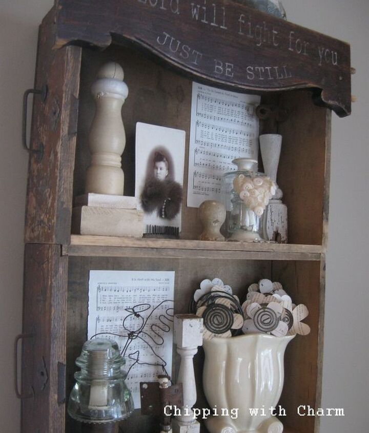 """A great place to display little """"bits"""" of junk and re-purposed treasures I've made and collected."""
