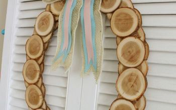 Wood Slice Easter Egg Wreath