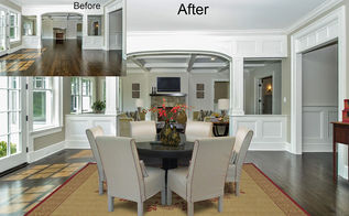 virtual staging before amp after photo of the week, home decor, living room ideas, real estate, Virtual Staging of Dining Room and Living Room in background amazing realism