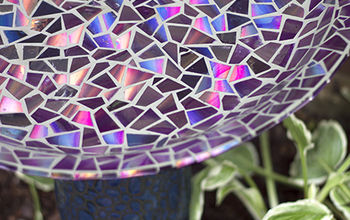Mosaic Tile Birdbath Using Recycled DVDs