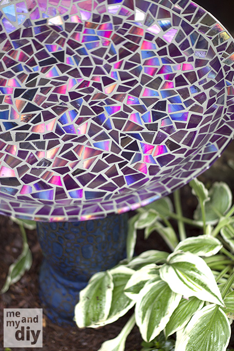 Mosaic Tile Birdbath Using Recycled Dvds Crafts Gardening Repurposing Upcycling Even With