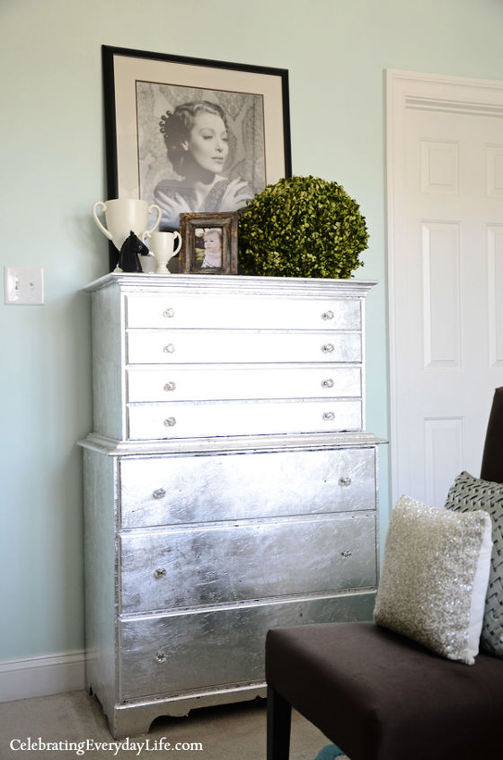 My silver leaf dresser in my Turquoise and White Bedroom